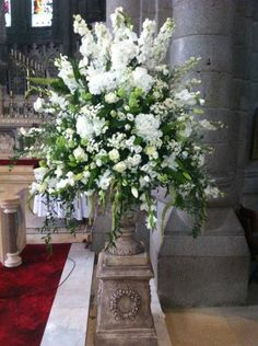 Church Sanctuary/ ALTER -PEDESTAL large floral arrangement in urn on plinth