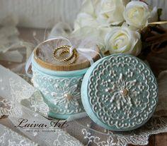 Wedding Ring Pillow Box, Mint, Blue, Aqua, Beach Wedding - pinned by pin4etsy.com