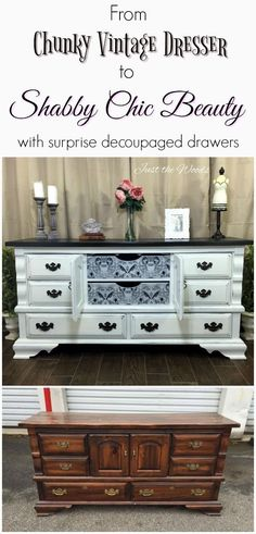 Give your vintage dresser a shabby chic makeover by adding a decoupage print to the drawers. Because painted furniture with added decoupage is sure to wow.