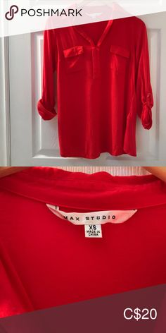 Max Studio blouse This orange-red Max Studio blouse is great for work or casual. Fits true to size, worn once. On the longer side so it pairs great with leggings or skinny jeans! Plus Fashion, Fashion Tips, Fashion Trends, Orange Red, Leather Jacket, Skinny Jeans, Pairs, Leggings, Studio