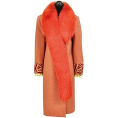 Gianni Versace Couture Coat With Fox Fur ($2,995) ❤ liked on Polyvore featuring outerwear, coats, orange, fur-lined coats, versace, red coat, fox coat and orange coat