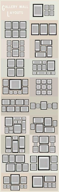 Gallery Wall Layout Ideas... Every diagram you ever need to see for home decorating #homedecorideasdiy