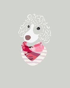 Custom Pet Portrait by Woof Models - Lagotto Romagnolo. Model is wearing Cleo Ferin Mercury Pink Scarf & Kenzo Purple Striped Top.
