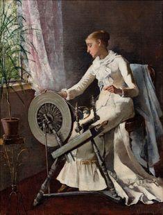 Girl by the Spinning Wheel by Amélie Lundahl Helene Schjerfbeck, Amelie, Tarot Decks, Artists Like, Artist Painting, Spinning, Illustration Art, Old Things, Fine Art