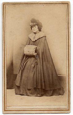 CDV 1860's Civil War Era Woman Her Winter Finery Hoop Skirt Muff Norwalk CT