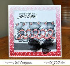 RutabagaPie Designs: Kat Scrappiness & Newton's Nook Breast Cancer Awareness Card Challenge  | Newton's Support stamp set by Newton's Nook Designs #newtonsnook