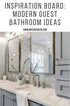NC Blogger I'm Fixin' To shares a recent inspiration board featuring ideas for a modern guest bathroom refresh. Check it out!