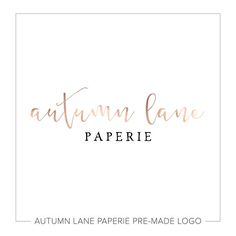 Autumn Lane Paperie is thrilled to present our line of pre-made logos, designed with the latest trends in mind! Our affordable pre-made logo option allows you to develop your brand identity at a fraction of the cost of custom work. This pre-made logo can be modified to reflect your