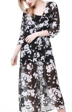 Floral Transparent Chiffon Dress