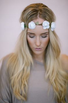 Reign of Flowers Crown, Boho Music Festival Headband Hair Accessories, Fashion Headbands with Flowers in WHITE on Etsy, $18.00
