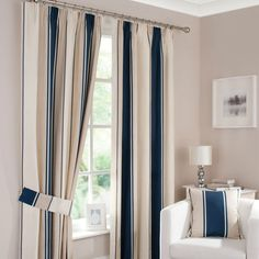 Navy Milan Pencil Pleat Curtains | Dunelm Mill