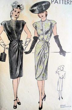 1940s COCKTAIL DRESS PATTERN VOGUE 5403 Vogue Dress Patterns, Dress Making Patterns, Vintage Dress Patterns, Vintage Dresses, Vintage Outfits, Vintage Clothing, 1940s Fashion, Vintage Fashion, Patron Vintage