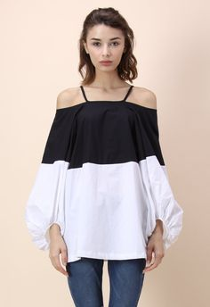 Contrast Color Off-shoulder Top With Bubble Sleeves - Retro, Indie and Unique Fashion