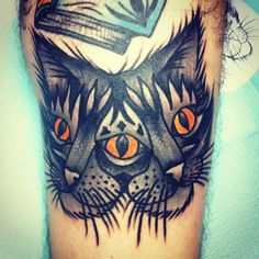 tattoo old school / traditional nautic ink - two faces cat