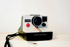 Vintage White Polaroid Camera with Rainbow Design