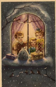 Miss Jane: Christmas Cards 1959  This reminds me of the poster my mom made of Robin, Marc and I at Christmas,. It was put up on the front door every Christmas. It even had glitter.