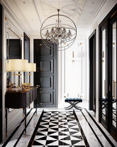 marble flooring And what is not to love about this gorgeous hallway From the geometrical design of the bamp;w marble floor, to the - Web 2020 Best Site Home Design, Flur Design, Home Interior Design, Interior Livingroom, Apartment Interior, Interior Styling, Classic Interior, Luxury Interior, Marble Interior