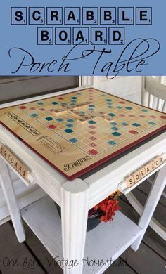 Best Country Decor Ideas for Your Porch - Scrabble Board Porch Table - Rustic Farmhouse Decor Tutorials and Easy Vintage Shabby Chic Home Decor for Kitchen, Living Room and Bathroom - Creative Country Crafts, Furniture, Patio Decor and Rustic Wall Art and Accessories to Make and Sell http://diyjoy.com/country-decor-ideas-porchs
