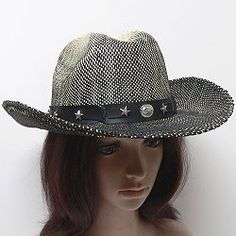 c0ca0d82 COWBOY HAT CATTLEMAN SHAPE A weave of black and tan fiber provides unique  color in these