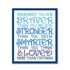 """Instant Download Cross Stitch Pattern """"Remember you are Braver than you believe"""" Inspirational quote typography Nursery Boy wall art gift on Etsy, $6.17 CAD"""
