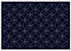 Sashiko Placemat Sampler - Preprinted with wash out stitching lines. This placemat features the seven treasures design. Japanese Iris, Puzzle Pieces, Shibori, Table Runners, Coasters, Navy, Placemat, Stitching, Prints