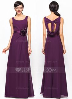 A-Line/Princess Scoop Neck Floor-Length Chiffon Satin Bridesmaid Dress With Ruffle Flower(s) (007052240)