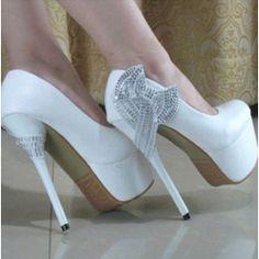 aeba2719806 White String Bows Princess Stiletto High Heels Wedding Prom Bridal  29.41  Shoes 2014