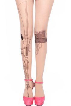 Transparent Nude Beige Tattoo Black Hipster Chick Vintage Print Gun Sexy Shotgun Pantyhose Stockings Tights Leggings on Etsy, Romwe, Nude Tights, Sheer Tights, Tattoo Tights, Black Hipster, Vintage Hipster, Fashion Vintage, Patterned Tights, Funky Tights