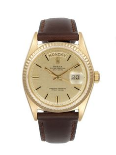 Vintage Rolex Rolex Oyster Perpetual Day-Date Gold & Brown Leather Watch