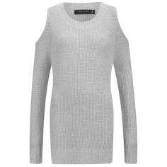 Religion Women's Perilous Cold Shoulder Jumper - Grey ($125) ❤ liked on Polyvore featuring tops, sweaters, grey, grey jumper, cold shoulder tops, open shoulder top, oversized tops und over sized sweaters