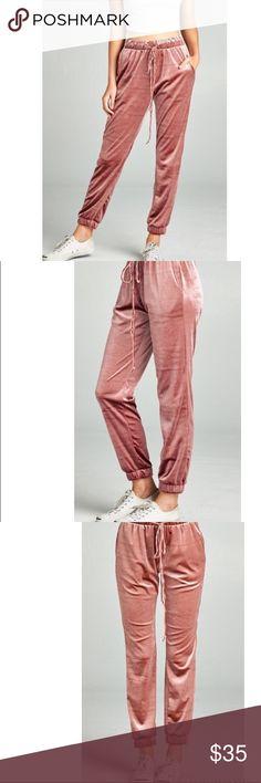 VELVET JOGGER PANTS WAIST DRAWSTRING VELVET JOGGER PANTS IN DUSTY MAUVE. 92% POLYESTER 8% SPANDEX NEW. Pants Track Pants & Joggers