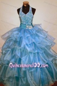 Beaded Decorate Shoulder Halter Top Light Blue Organza Beading Little Girl Pageant Dresses - Quinceanera 100