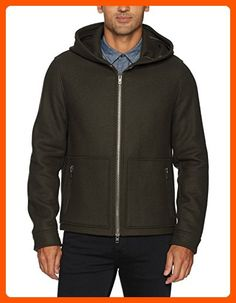 Vince Men's Virgin Wool Zip Hoodie Jacket, Olive, XL - Mens world (*Amazon Partner-Link)