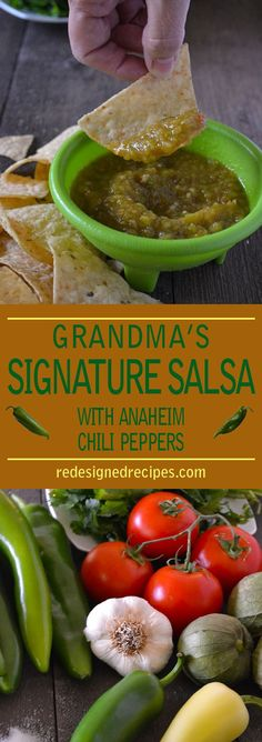 Grandma's Signature Anaheim Chili Pepper Salsa is an absolutely delicious salsa bursting with flavor. Canning Recipes, Chili Recipes, Mexican Food Recipes, Pepper Recipes, Tuna Recipes, Mexican Cooking, Healthy Recipes, Free Recipes, Recipies