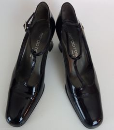 d108e9733ed3 Sergio Rossi Black Patent Shiny Women Shoes Heels 36.5 5.5 6 Italy Leather  Sergio Rossi
