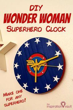 DIY Wonder Woman Superhero Clock craft tutorial wonderwoman wonderwomancraft clock superherocraft via 547398529703743324 Clock Craft, Diy Clock, Decor Crafts, Diy And Crafts, Home Decor, Wonder Woman Superhero, Elle Marie, Blue Spray Paint, Superhero Room