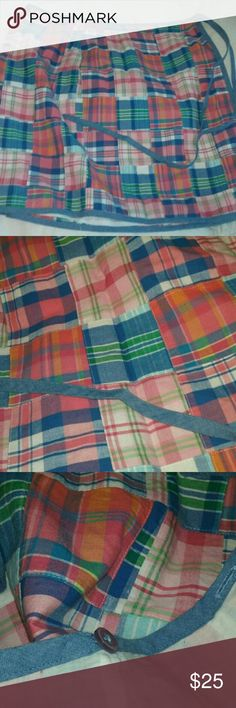 """Laura Ashley Skirt Vintage True Wrap Cotton Sz 8 Laura Ashley Skirt Vintage True Wrap Cotton Plaid Bright MultiColor Misses 8  100% cotton, inside button closures for adjustability, true wrap skirt.  Such a pretty piece!  Approx measurements, laid flat and folded in half: waist 18.5"""", length 22"""". Laura Ashley Skirts"""