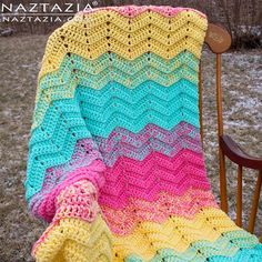 Free Pattern - How to Crochet Double Sweet Ripple Blanket - Chevron Zig Zag Afghan Throw - DIY Tutorial