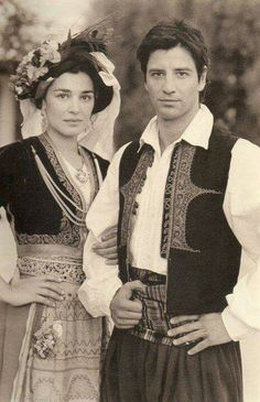 Traditional costumes for the Island of Corfu, Greece. Maria Nafpliotou & Sakis Rouvas Greek hair and makeup 2 Greek Traditional Dress, Traditional Outfits, Greece People, Greek Dancing, Greek Culture, Albanian Culture, Costumes Around The World, Corfu Greece, Folk Clothing