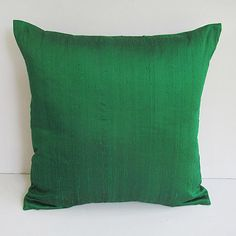 emerald green silk pillow cover 18 inch by Comfyheavenpillows, can be custom sized