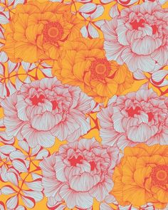 pattern wallpaper - coral, pink, yellow, orange