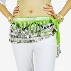 Belly Dance Hip Skirt Scarf Wrap Belt with 258 Silver Coins Velvet 9 Colors | eBay