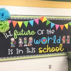 Every time I go by this bulletin board I can't help but smile. The future of t… Every time I go by this bulletin board I can't help but smile. The future of the world 🌎 is in fact in our schools and classrooms. World Bulletin Board, Office Bulletin Boards, Elementary Bulletin Boards, Kindergarten Bulletin Boards, Back To School Bulletin Boards, Classroom Bulletin Boards, Classroom Themes, Leadership Bulletin Boards, Bulletin Board Ideas For Teachers