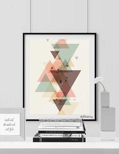 Minimalist poster, printable art print, Geometric print, Triangle art, Wall art, Digital print, Scandinavian art poster, INSTANT DOWNLOAD.