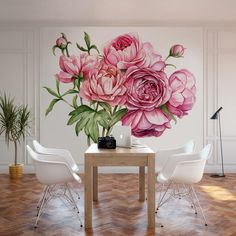 Wall Paper Decor, Wall Painting Decor, Mural Wall Art, Peonies Wallpaper, Wallpaper Flower, Home Room Design, Living Room Designs, Home Decor Styles, Home Decor Accessories