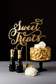 Wedding Dessert Table Sign Sweet Treats Soirée by BetterOffWed Party Decoration, Wedding Decorations, Black Gold Decor, Black And Gold Cake, New Years Eve Weddings, Table Signs, Gold Party, Wedding Desserts, Macaron