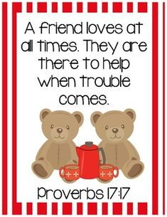 FIAR - Another Celebrated Dancing Bear Bible Verse Printable (Proverbs 17:17) only $1.00 and FREEbie in the Preview!  Visit www.littlelearninglane.com for more fun ideas & FREE printables!