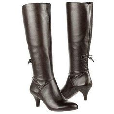 14a65db8581 2 Women s Brown Leather Dinka Wide Calf Knee High Boots by Naturalizer