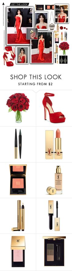 """Get The Look"" by millajauregui on Polyvore featuring KaBloom, Jessica Simpson, Yves Saint Laurent, Givenchy, red, Flowers, roses, CamilaCabello and Grammy2018"