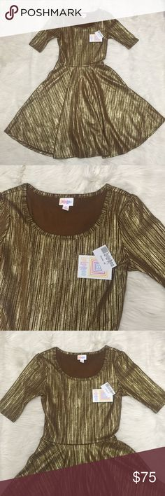 ⭐️ NWT   Lularoe Elegant Nicole Medium Brand new with tags. Holiday Elegance Collection Gold & Brown Nicole. Size medium, a little stretch. Bought the wrong size. LuLaRoe Dresses